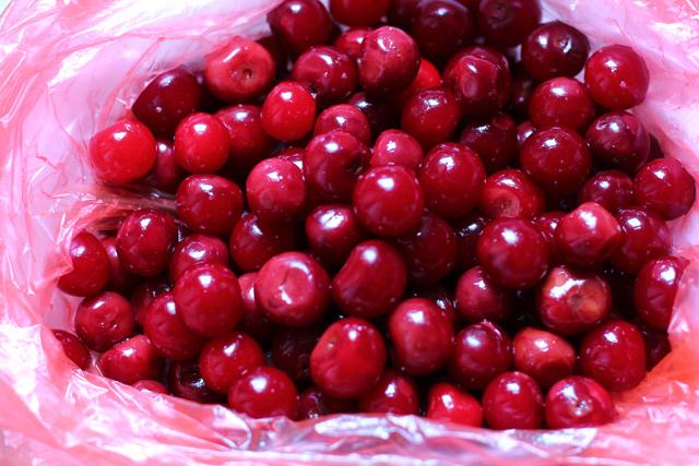 tart cherries in a sac
