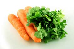 ingredients for parsley carrot juice