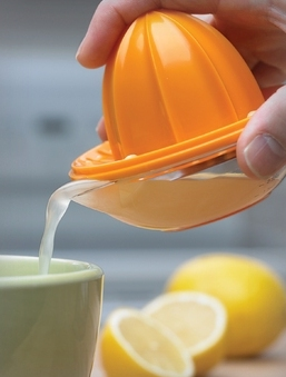 lemon juice from a squeezer