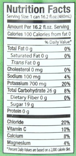 nirvana coconut water nutritional facts